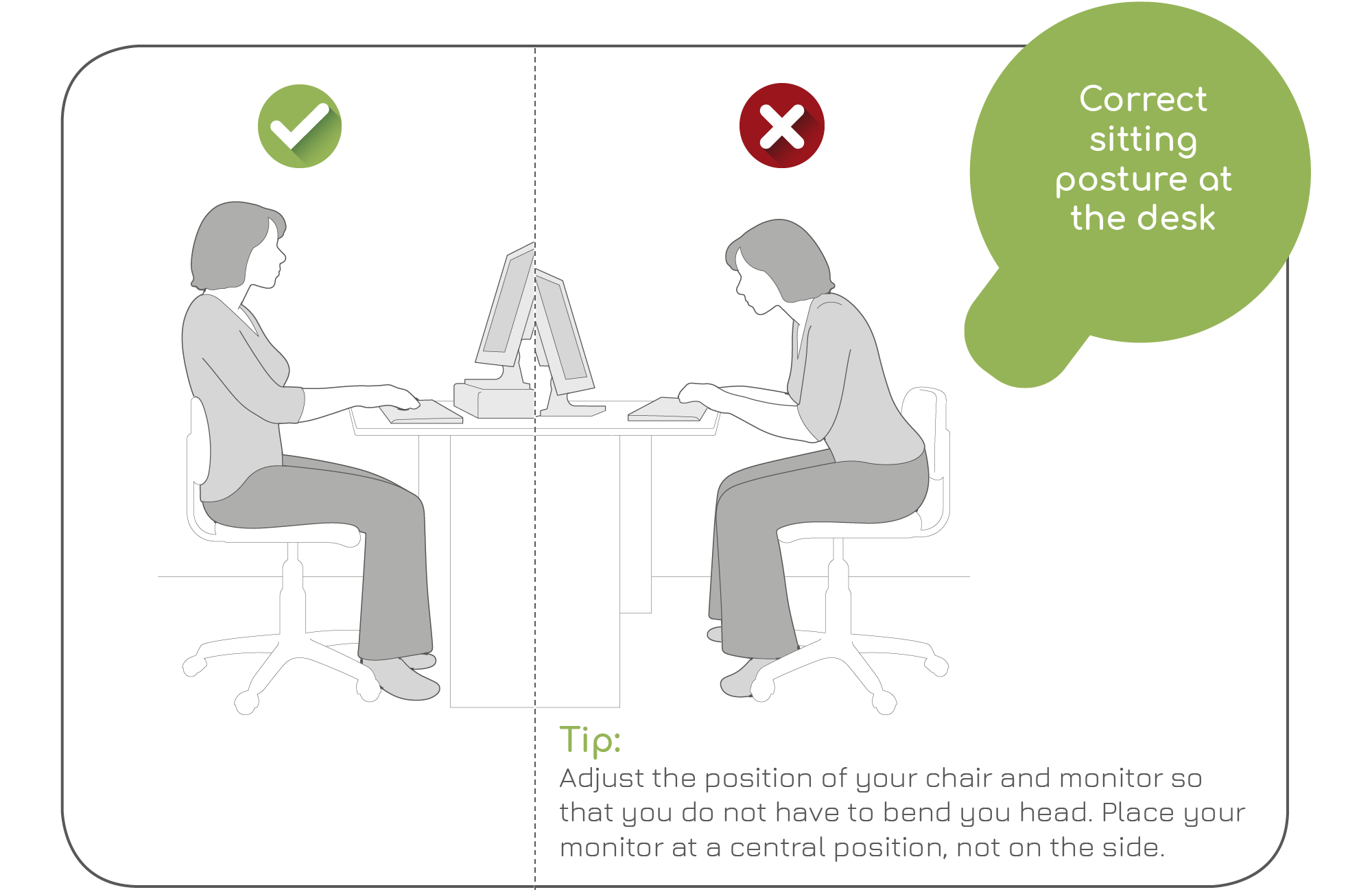 Correct sitting posture at the desk